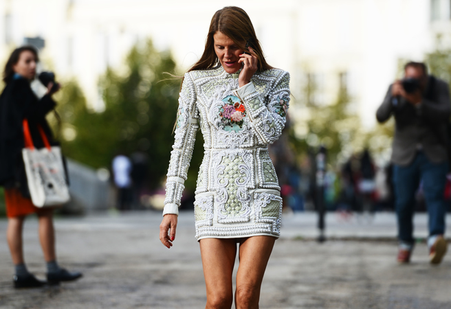la-modella-mafia-Anna-Dello-Russo-Paris-Spring-2013-fashion-week-street-style-in-a-Balmain-mini-dress